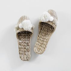 HANDWOVEN POM POM HOUSE SLIPPERS - (more colors available)