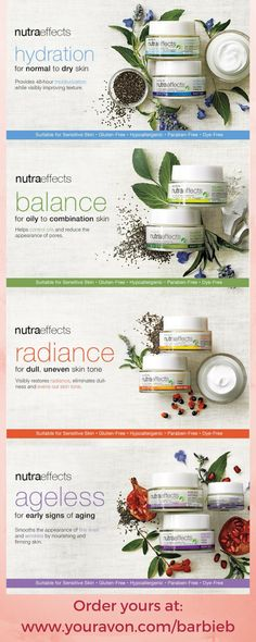 nutra effects - avon nutraeffects active seed complex skincare with chia seeds - full product line