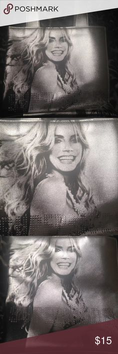 Victoria Secret Mini Tote 👛 NWOT! Shiny Silver Tote Bag with Model Heidi Klum Pictured on the Front and Back with the Word Supermodel in Rhinestones :) Super Cute! Great Small Bag for On the Go! Victoria's Secret Bags Totes