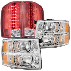 2007 Chevy Silverado Chrome LED DRL Headlights and LED Tail Lights Red Clear