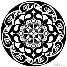 Kaleidoscopic floral tatoo. Mandala in black and white