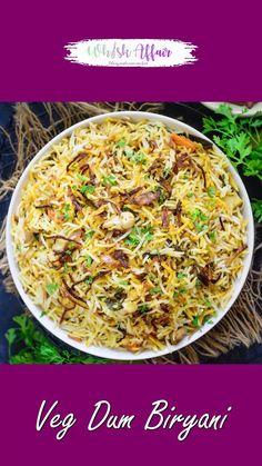 Veg Biryani Recipe Indian, Vegetable Biryani Recipe, Indian Veg Recipes, Veg Pulav Recipe, Tasty Vegetarian Recipes, Spicy Recipes, Puri Recipes, Asian, India Food