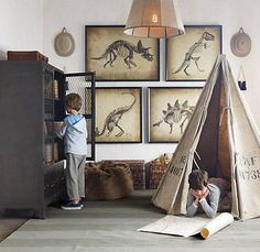 love the whole room-the recycled canvas play tent & the vintage looking dino prints!!