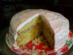 Keylime cake with cream cheese icing.