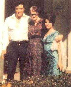 Elvis and Priscilla with his grandmother, Minnie Mae Presley