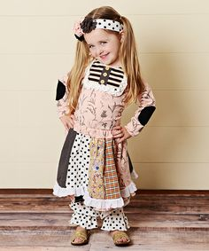 Pink & Beige Eyelet Patchwork Skirt Set - Toddler