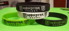 Set of Four Monster Energy Bracelets Wristbands Wrist Bands MX Motocross Ryan Villopoto Blake Baggett Dean Wilson Supercross Motocross