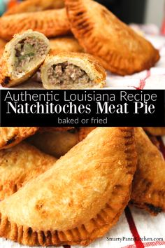 Natchitoches Meat Pie Pastry filled with beef, pork, onions and seasonings! Instructions for frying or baking!<br> Savory, seasoned ground beef and pork, tucked inside a crispy pastry. Creole Recipes, Cajun Recipes, Meat Recipes, Mexican Food Recipes, Cooking Recipes, Cajun Meat Pie Recipe, Louisiana Meat Pie Recipe, Meat Hand Pie Recipe, Gastronomia