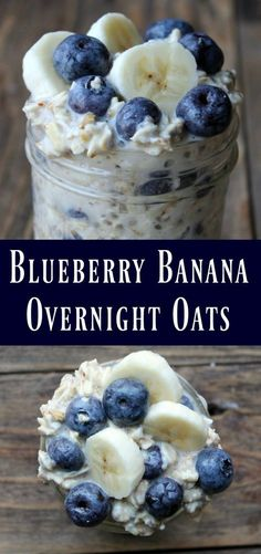 This is a delicious oats in a jar recipe… Blueberry Banana Overnight Oats Recipe. This is a delicious oats in a jar recipe…,Healthy recipes Blueberry Banana Overnight Oats Recipe. Healthy Desayunos, Healthy Snacks, Breakfast Healthy, Healthy Recipes, Bariatric Recipes, Eating Healthy, Breakfast Ideas, Frozen Breakfast, Healthy Breakfasts