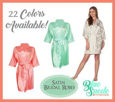 Monogrammed Bridesmaids Robes add a classic touch to your bridal party gifts!!! Our Satin Robes are perfect for getting ready time before the wedding! These robes are the perfect robes to have for your bridal party! They have are great to wear while getting ready on your special day. They are super adorable in pictures. You can get any combination of colors you like, for instance you can get a white for the bride and all the others the wedding colors. The robes are •A tailored collar •a…