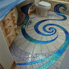 I like this style. It's ethereal and pretty. While the tile would be too heavy for my base, I could possibly paint this on the floor and walls.    #bathroomdreams @Hansgrohe USA