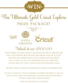 Anna Griffin Gold Edition Cricut Explore Giveaway! Enter for a chance to win @ http://woobox.com/gy7uw2/fzjlpm