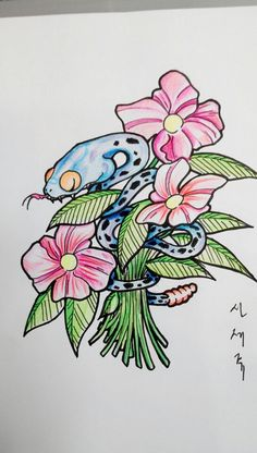snake and flower tattoo design