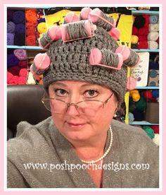Oma's Curlers Hat - Free Crochet Pattern and video at Posh Pooch Designs.