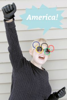 Olympic Rings Sunglasses DIY Craft Idea American Ninja Warrior, Olympic Games, Pre School, Girl Scouts, Olympics, Dress Up, Victoria, Sunglasses, Celebrities