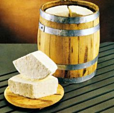 FETA cheese. In a wooden traditional barrel from Kalavrita