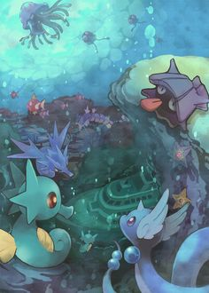 """alternative-pokemon-art: """"Artist An underwater picture of a bunch of Water types by request. """""""