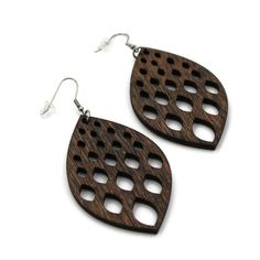 Marquise Wooden Large Dangle Earrings for Women, Laser Cut, COLOR OPTIONS, Brown, Black, Red, Blue, Gray, Green - Lightweight, Gift-Wrapped Gray Green, Blue, Laser Cutting, Women's Earrings, Dangles, Gift Wrapping, Trending Outfits, Brown, Unique Jewelry