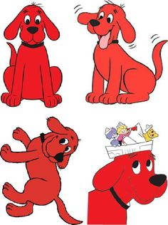 Lot Of 4 Clifford The Big Red Dog Fabric by CraftyDesignNBargain, $4.99
