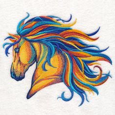 Vibrant Horse in Watercolor design (M14878) from www.Emblibrary.com