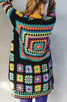 crochet jacket # knit crochet patterns granny squares Kaliedoscope Cardigan (Granny Square) Crochet pattern by The Missing Yarn - Cassie Ward Pull Crochet, Gilet Crochet, Crochet Cardigan Pattern, Granny Square Crochet Pattern, Crochet Poncho, Crochet Granny, Crochet Stitches, Free Crochet, Crochet Patterns