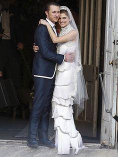 "Lake Bell's wedding dress - a nod to ""The Great Gatsby"" era. I"