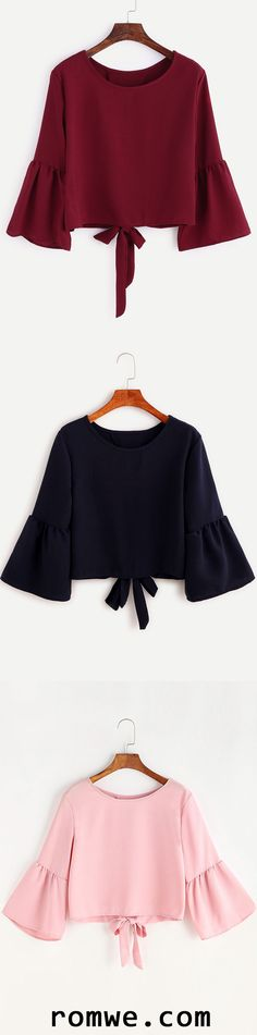 Bell Sleeve Bow Tie Back Blouse