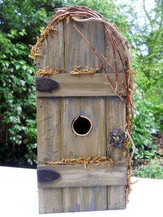 garden door  bird house. wooden. folk art primitives garden door yard decoration