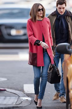 Olivia Palermo in a Zip Jeans from Zara