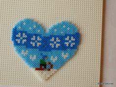 Winter heart with sledge made with Hama Mini Beads. Bügelperlen Herz mit Schlittenfahrer by   petuniad