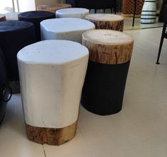 Charmant Log Side Table   Painted