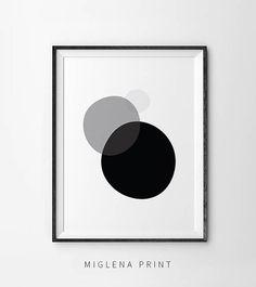 Moderne Wanddekoration, Geometrischen Kreis Wandkunst, Schwarz / Weiß  Druckt, Moderne Kunst Triptychon