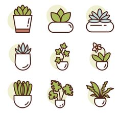 Choose among packs of free vector icons Mini Drawings, Cute Easy Drawings, Small Drawings, Doodle Drawings, Bullet Journal Art, Bullet Journal Ideas Pages, Kawaii Stickers, Cute Stickers, Plant Icon