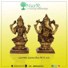 Goddess Lakshmi is the Goddess of wealth and prosperity while Lord Ganesha is considered as the God of intelligence. These two deities are worshiped together to welcome wealth along with intelligence. Product Code MA-015 Visit http://www.nurr.in for more info | Call +91-8800147521 #NurR #Promotionalgifts #CorporateGift #Sales #Events #Employee #Branding #Gifts #PremiumGifts #GiftingSolution #LaxmiGanesha #Goddess #Idol