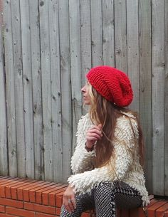 Red Hat / bold red chunky hand knit HAT on Etsy, $25.00