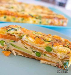 Kidgredients Sweet potato and zucchini healthy strata bake - Kidgredients Vegetable Dishes, Vegetable Recipes, Vegetarian Recipes, Healthy Recipes, Vegetable Slice, Vegetable Bake, Savoury Slice, Baby Food Recipes, Cooking Recipes