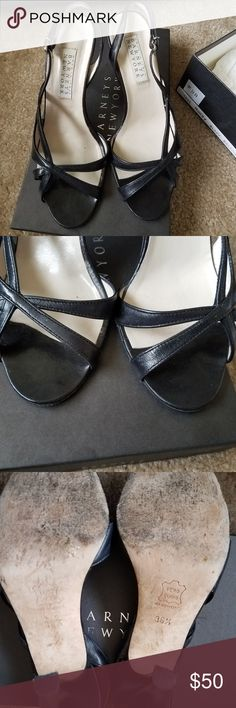 """🔔Barneys New York Black Leather Heel Sandals 36.5 Barneys New York black high heel sandals, in size 36.5, heel height 3.5"""".  Wore couple of times, leather, in great condition.  Simple black leather high quality sandals for that simple black dress.  Comes with box.  🔔Bundle for $10 All my $5 items are BUY 2 GET 1 FREE❣ Check out my 🔔 bell- marked items!! Barneys New York Shoes Sandals"""