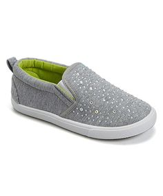 Loving this Gray & Green Sparkle Slip-On Sneaker on #zulily! #zulilyfinds