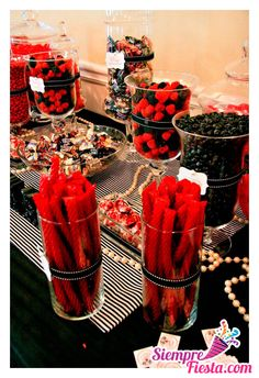 Moulin Rouge/Paris party red and black candy~ You can keep the black licorice though! Wwe Party, Party Poker, Vegas Party, Mascrade Party, Party Ideas, Gold Party, Vegas Theme, Black Party, Theme Ideas