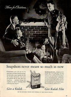 1941 Kodak Film Home For Christmas Original Print Ad