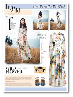 """Floral maxi dress"" by anne-irene ❤ liked on Polyvore featuring moda, Børn, She's So, Anja, French Connection, Fendi, valentino, maxidress, fendi e floraldress"