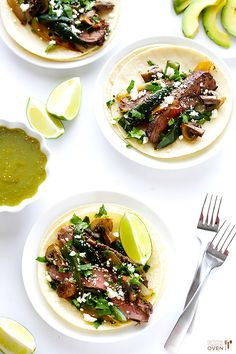 Steak, Poblano and Mushroom Tacos Recipe | gimmesomeoven.com