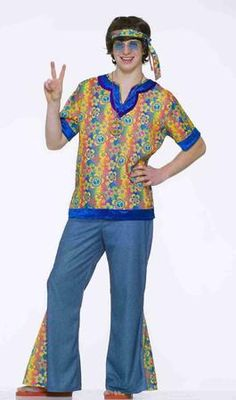 Love and peace are what this Far Out Dude Teen Costume is all about! Bring out the 1960's groovy hippie style as part of your Halloween costume this year! This Far Out Dude Teen Costume includes a brightly-colored flower patterned headband, matching shirt, and blue pair of bell-bottom pants. Additional costume accessories shown are available and sold separately.