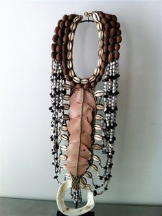 Necklace | Contemporary piece from Papua New Guinea. Shells, seeds, other natural materials and fiber. Available via VoodooLovesick on Etsy