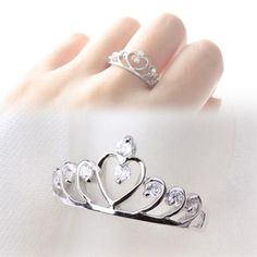 2016 Trendy Rhinestones Inlaid Hollow Out Heart Crown Shaped Gold Silver Plated Woman Ring-in Rings from Jewelry & Accessories on Aliexpress.com | Alibaba Group