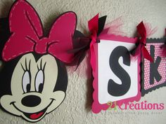 Minnie Mouse Name Banner in Hot Pink by 21Creations on Etsy, $20.00
