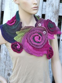 Crochet Scarf Freeform crochet Roses Button Womens scarf Capelet Neck Warmer  Green Purple Pink Flower rose unique desing textured scarf