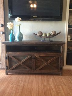 Rustic TV Solid Wood Entry way Table by TheRusticMillHouse on Etsy