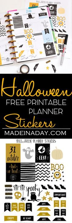 FREE October Halloween FREE Printable Planner Stickers,Come and get your sweet scary planner sticker for Halloween! via @madeinaday