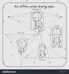 , How to draw a character in perspective using a box . , How to draw a character in perspective using a box Perspective Images, Perspective Drawing Lessons, How To Draw Perspective, Perspective Photography, Family Photography, Figure Drawing Reference, Art Reference Poses, Drawing Techniques, Drawing Tips